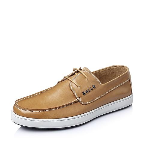 Belle/百丽春季棕色油蜡牛皮男单鞋AB017AM6
