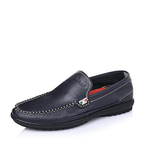 Belle/百丽春季蓝色软牛皮男单鞋W6870AM6