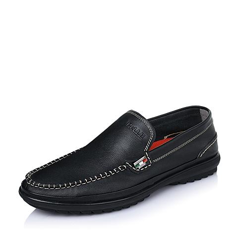 Belle/百丽春季黑色软牛皮男单鞋W6870AM6