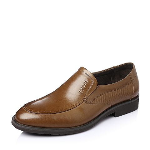 Belle/百丽春季棕色牛皮男鞋F5679AM6
