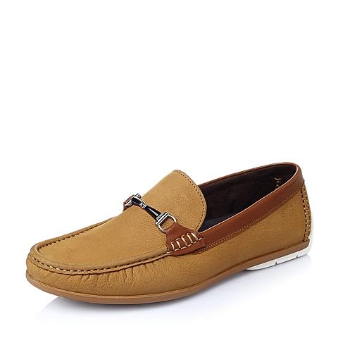 Belle/百丽春季土黄色磨砂牛皮革男单鞋6M240AM6
