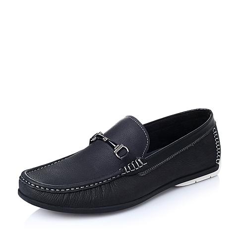 Belle/百丽2016春季黑色磨砂牛皮革男单鞋6M240AM6