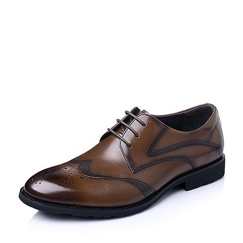 Belle/百丽春季棕色小牛皮男鞋A3820AM6
