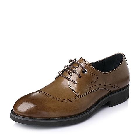 Belle/百丽春季棕色打蜡牛皮革男鞋A1032AM6