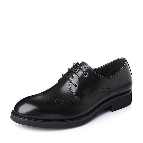 Belle/百丽2016春季黑色打蜡牛皮革男鞋A1032AM6