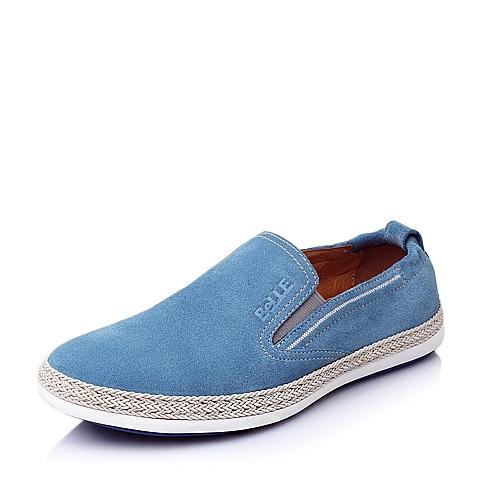 Belle/百丽春季浅蓝色二层牛皮时尚舒适活力男休闲鞋AUZ06AM6