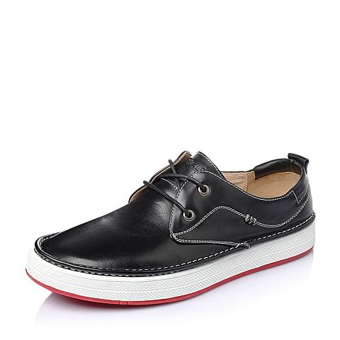 Belle/百丽2016春季黑色水染牛皮男休闲鞋938CCAM6