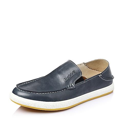 Belle/百丽春季蓝色油蜡牛皮男休闲鞋937CCAM6