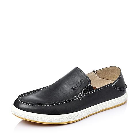 Belle/百丽春季黑色油蜡牛皮男休闲鞋937CCAM6