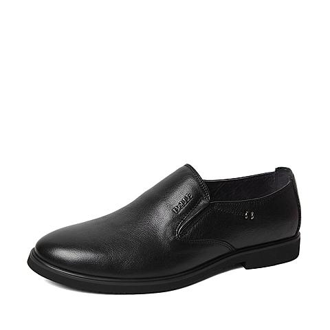 Belle/百丽春季专柜同款黑色牛皮革男皮鞋4JF02AM6