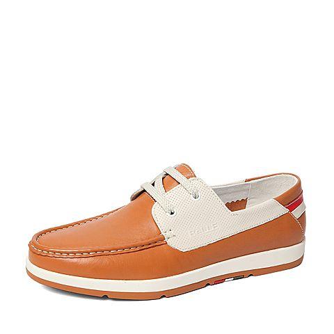 Belle/百丽春季专柜同款黄色牛皮男休闲鞋3ZX01AM6