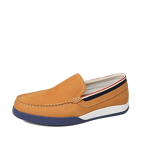 Belle/百丽春季专柜同款黄色磨砂牛皮男休闲鞋3ZY01AM6