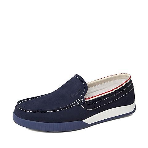 Belle/百丽春季专柜同款蓝色磨砂牛皮男休闲鞋3ZY01AM6