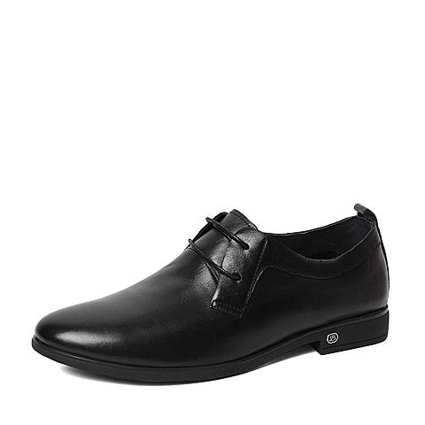 Belle/百丽春季专柜同款黑色时尚简约牛皮革男单鞋4JB01AM6