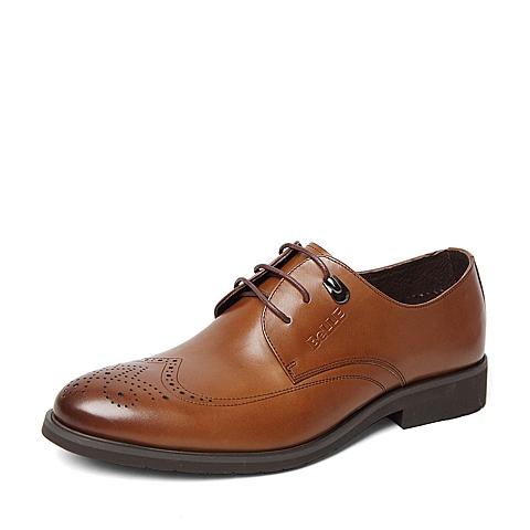 Belle/百丽春季专柜同款棕色牛皮男单鞋4JS01AM6
