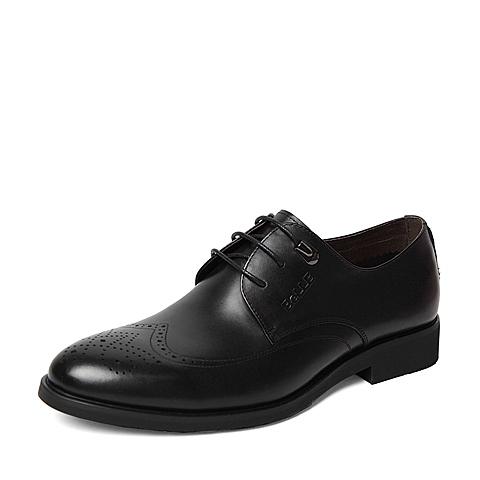 Belle/百丽春季专柜同款黑色牛皮男单鞋4JS01AM6