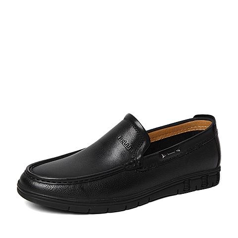 Belle/百丽春季专柜同款黑色牛皮男休闲鞋4KC01AM6