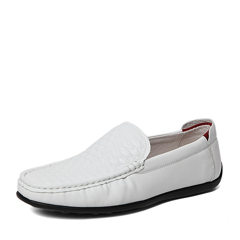 Belle/百丽春季专柜同款白色压纹牛皮男休闲鞋4JL01AM6