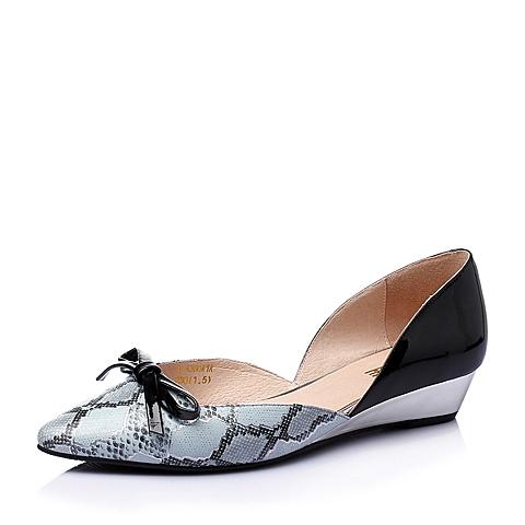 Belle/百丽春季兰色压纹羊皮革女鞋A-A30AK6