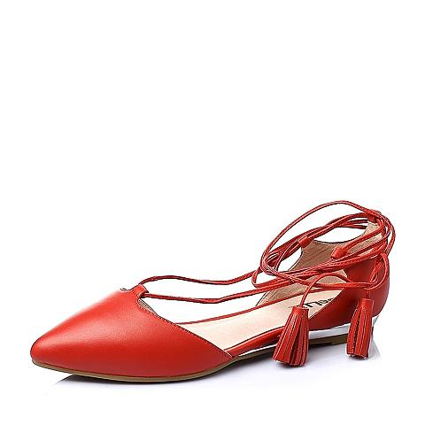 Belle/百丽春季红色牛皮女凉鞋3A-26AK6
