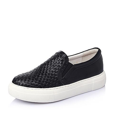 Belle/百丽春季黑色编织猪皮革女单鞋1-108AM6