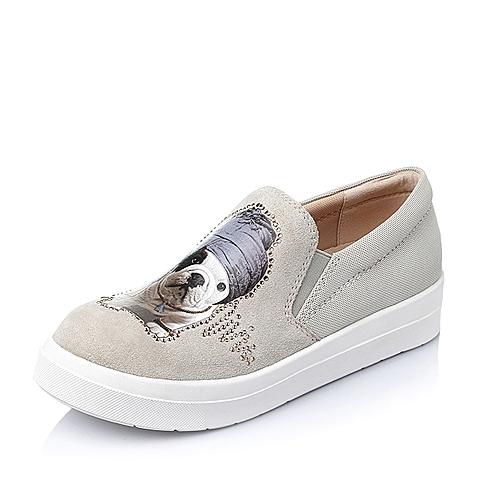 Belle/百丽春季米色牛剖层革女单鞋16513AM6