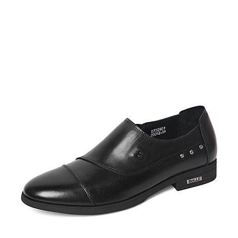 Belle/百丽春季专柜同款黑色牛皮革男皮鞋3ZQ01AM6