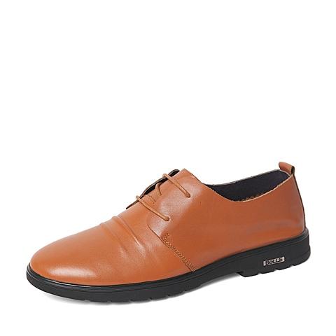 Belle/百丽2016春季专柜同款黄色牛皮潮流经典男休闲鞋4JA01AM6 专柜1