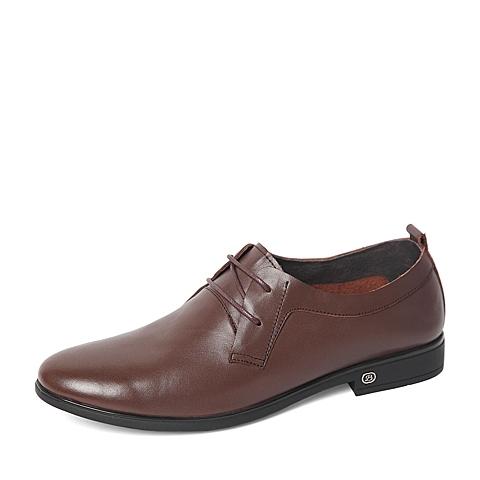 Belle/百丽春季专柜同款棕色时尚简约牛皮革男单鞋4JB01AM6