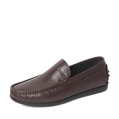 Belle/百丽春季专柜同款棕色牛皮革男休闲鞋4JP01AM6