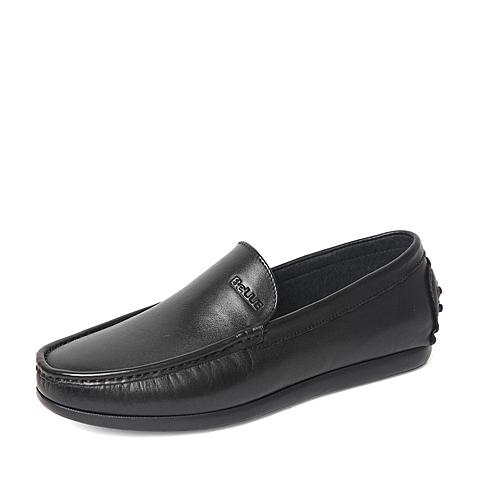 Belle/百丽春季专柜同款黑色牛皮革男休闲鞋4JP01AM6