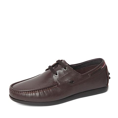 Belle/百丽2016春季专柜同款棕色牛皮革男休闲鞋4JP02AM6 专柜1