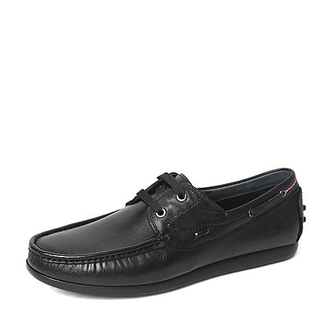 Belle/百丽春季专柜同款黑色牛皮革男休闲鞋4JP02AM6