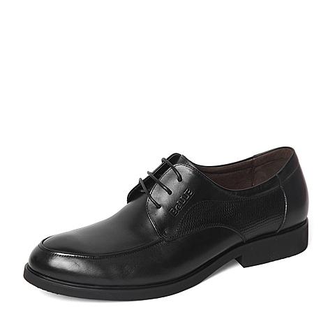 Belle/百丽春季专柜同款黑色商务休闲牛皮革男单鞋4JT11AM6