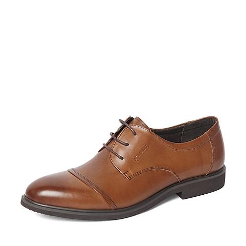 Belle/百丽春季专柜同款棕色商务休闲牛皮革男单鞋4JW01AM6