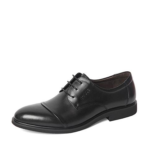 Belle/百丽2016春季专柜同款黑色商务休闲牛皮革男单鞋4JW01AM6 专柜1
