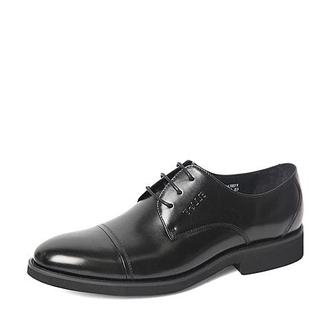 Belle/百丽春季专柜同款黑色商务休闲牛皮革男单鞋4JH01AM6
