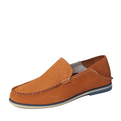Belle/百丽春季专柜同款土黄色舒适磨砂牛皮革男单鞋4JM01AM6