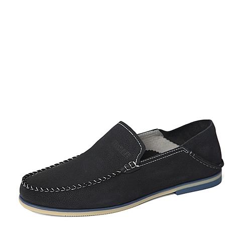 Belle/百丽春季专柜同款蓝色舒适磨砂牛皮革男单鞋4JM01AM6