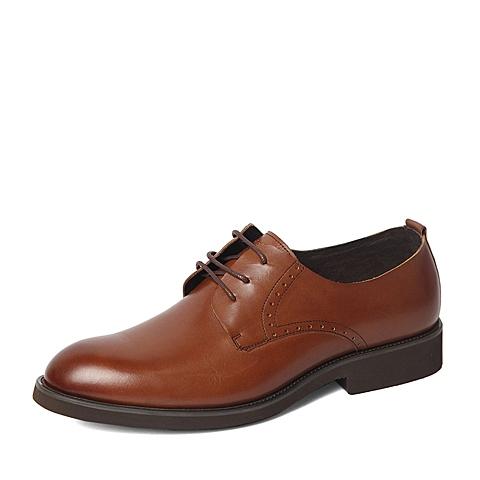 Belle/百丽春季专柜同款棕色商务休闲牛皮革男单鞋4JN01AM6