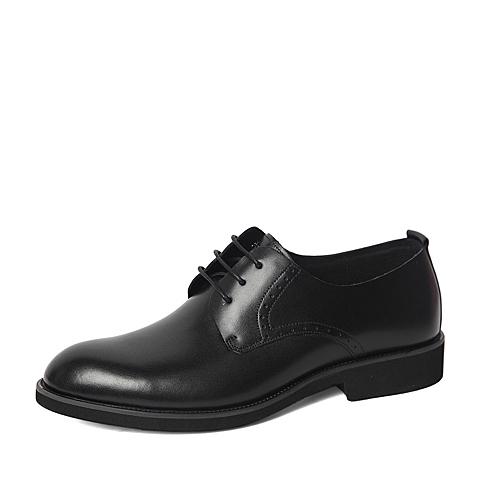 Belle/百丽春季专柜同款黑色商务休闲牛皮革男单鞋4JN01AM6