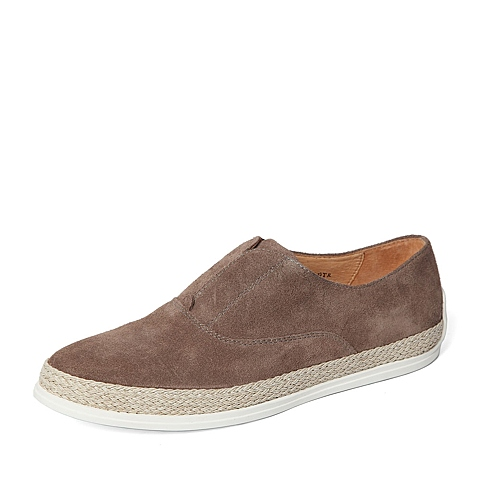 Belle/百丽春季专柜同款啡灰二层牛皮革男皮鞋B9M01AM6