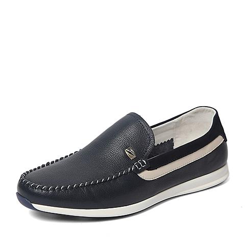 Belle/百丽2016春季专柜同款蓝色牛皮时尚舒适男休闲鞋3ZW01AM6 专柜1