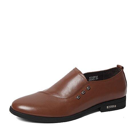 Belle/百丽春季专柜同款浅棕色牛皮男皮鞋3ZQ12AM6