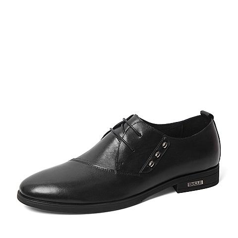 Belle/百丽春季专柜同款黑色牛皮革男皮鞋3ZQ11AM6