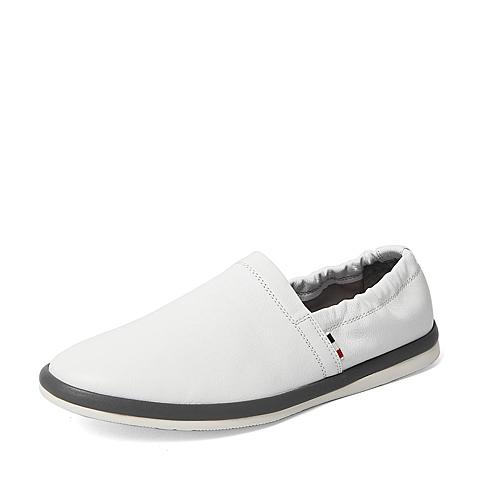 Belle/百丽2016春专柜同款白色牛皮潮流时尚经典男皮鞋3ZZ01AM6 专柜1