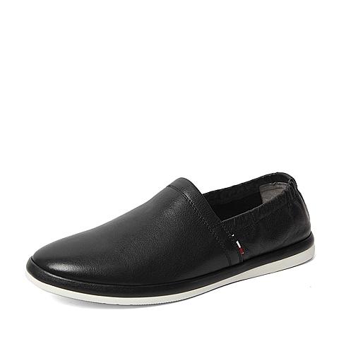 Belle/百丽春专柜同款黑色牛皮时尚潮流经典男皮鞋3ZZ01AM6
