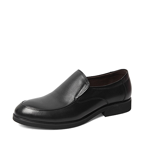 Belle/百丽春季专柜同款黑色牛皮革男皮鞋4JT01AM6
