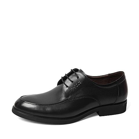 Belle/百丽2016春季专柜同款黑色牛皮革男皮鞋4JT02AM6 专柜1