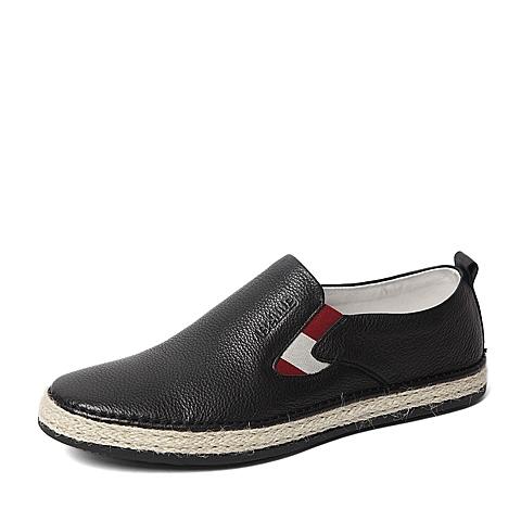 Belle/百丽春季专柜同款黑色牛皮时尚舒适男休闲鞋4KE01AM6